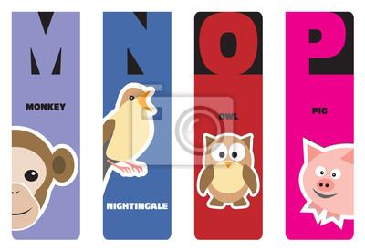 Lesezeichen - Tieralphabet M für Affen, N für Nachtigall, O f