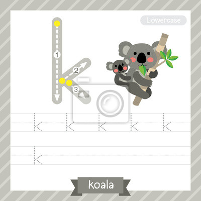 Letter k kleinbuchstaben-übungsarbeitsblatt mit koala für kinder ...