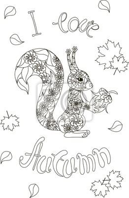 Lettering Ich Liebe Herbst Floral Eichhörnchen Malvorlage Anti