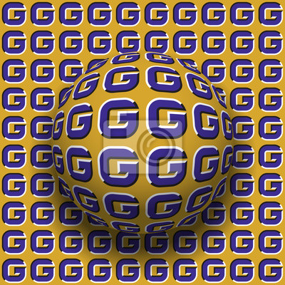 Letters G patterned sphere rolling along the same surface. Abstract vector optical illusion illustration. Motion background and tile of seamless wallpaper.