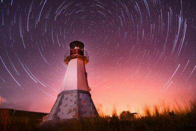 Bild Leuchtturm mit Nachthimmel im Hintergrund Sterne Wanderwege