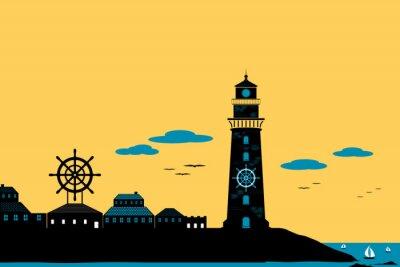 Bild Leuchtturm und Stadt Silhouette Landschaft Vektor