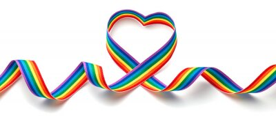 Bild LGBT rainbow ribbon in the shape of heart. Pride tape symbol. Isolated on a white background