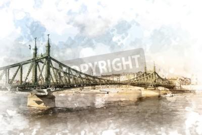 Bild Liberty-Brücke in Budapest, Ungarn. Touristische Destination Fotografie mit sityscape und Fluss.