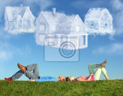 Bild liegend auf Gras und Traum drei Häuser Wolke Collage