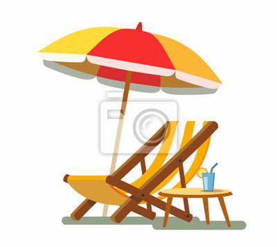 Liegestuhl mit sonnenschirm strand  Liegestuhl und sonnenschirm am strand. leinwandbilder • bilder tour ...