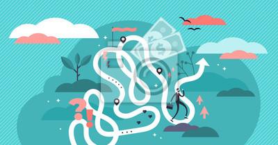 Bild Life journey vector illustration. Flat tiny symbolic person destiny concept