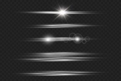 Bild Light and stripes moving fast over dark background.design of the light effect. PNG. Set. Vector illustration