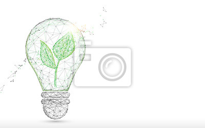 Bild Light Bulb with green plant form lines, triangles and particle style design. Illustration vector