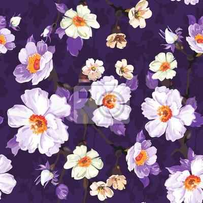 Lila Blumen Nahtlose Muster