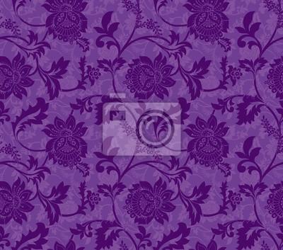 Lila Ornamentalen Blumen Nahtlose Muster