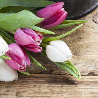 Bild Lila Tulpe Frühjahr Konzept auf Vintage-Fach und Holztisch