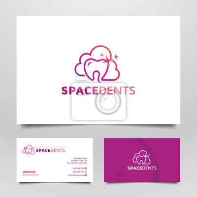 Line Art Zahnarzt Wolken Logo Und Visitenkarte Konzept