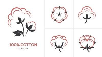 Bild Linear cotton icon set.