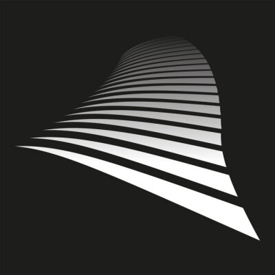 Lines on black background. Diminishing perspective view.