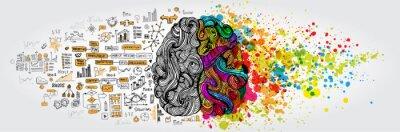 Bild Linkes rechtes menschliches Gehirnkonzept. Kreativer Teil und Logikteil mit sozialer und geschäftlicher Doodle