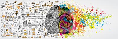 Bild Linkes und rechtes menschliches Gehirn mit sozialer Infografik auf logischer Seite. Kreative halbe und logische Hälfte des menschlichen Geistes. Vektor-Illustration aboud soziale Kommunikation und Bus
