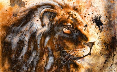 Bild lion collage on color abstract  background,  rust structure,