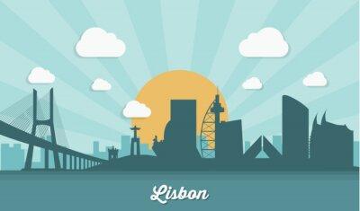 Bild Lissabon Skyline - flaches Design