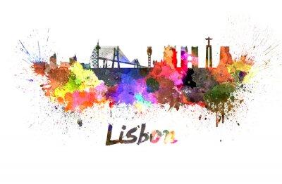 Bild Lissabon-Skyline in Aquarell