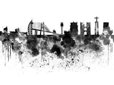 Bild Lissabon skyline in schwarzem aquarell hintergrund