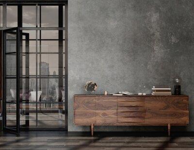 Bild Living room interior in loft, industrial style, 3d render