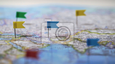 Bild Locations marked with pins on world map, global communication network, closeup