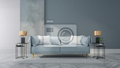Loft Und Weinleseinnenraum Des Wohnzimmers Blaues Sofa Auf