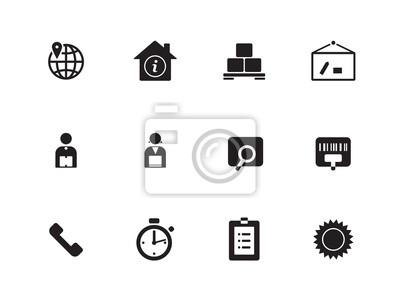 Logistik-Symbole auf weißem Hintergrund.