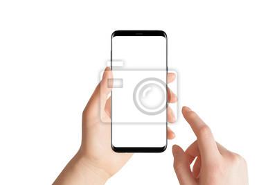 Bild Lokalisierte Hände und Smartphone auf weißem Hintergrund. Weibliche Hand, die modernes schwarzes Telefon in der vertikalen Position hält.