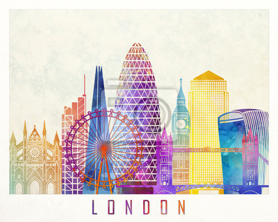 Bild London Sehenswürdigkeiten Aquarell Poster