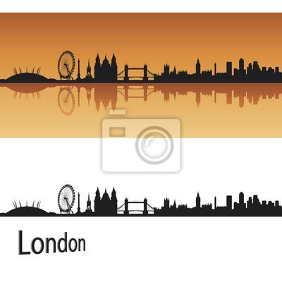 Bild London-Skyline in orangefarbenen Hintergrund in bearbeitbare Vektordatei