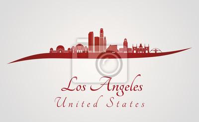 Bild Los Angeles Skyline in rot