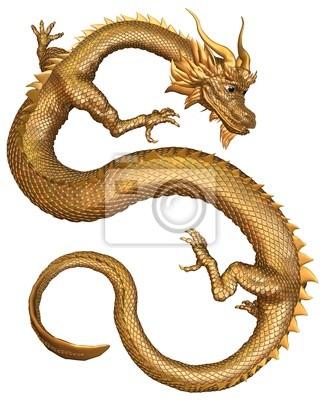 Lucky Chinese Drache mit Gold-Metall-Schuppen