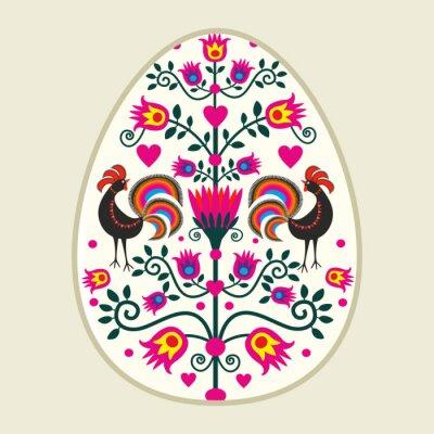 Bild Ludowa kartka wielkanocna z pisanką