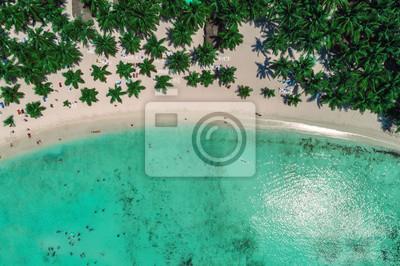 Luftaufnahme des tropischen Strandes, Dominikanische Republik