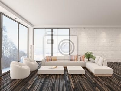 Luftiges Helles Wohnzimmer Mit Parkettboden Und Weisser Couch