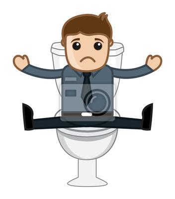 Lustige Cartoon Mann In Toilette Clip Art Vektor Illustration