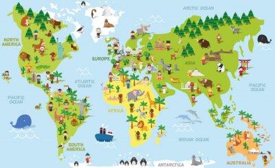 Bild Lustige Cartoonweltkarte mit Kindern der verschiedenen Nationalitäten, der Tiere und der Denkmäler aller Kontinente und der Ozeane. Vektor-Illustration für Vorschul-Bildung und Kinder-Design.