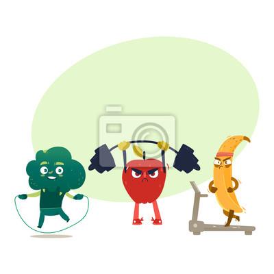 Lustige Comic Cartoon Stil Fruchte Und Beeren Sport Fitness Ubungen Leinwandbilder Bilder Seilspringen Langhantel Laufband Myloview De