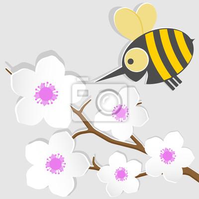 Lustige Eine Kleine Biene Und Aprikose Leinwandbilder Bilder