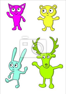 Lustige Farbige Comic Tiere Katze Barchen Hase Hirsch
