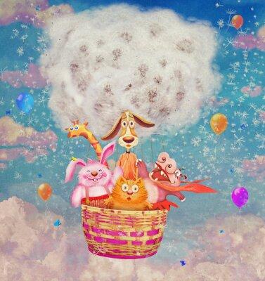 Lustige, freundliche Tiere in einem Luftballon im Himmel - Illustration Kunst