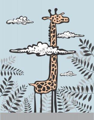 Bild Lustige Giraffe in den Wolken