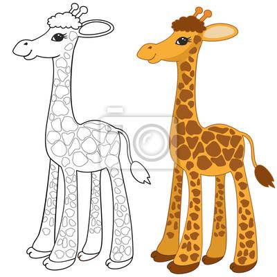 Lustige giraffe. malvorlagen für kinder leinwandbilder • bilder ...