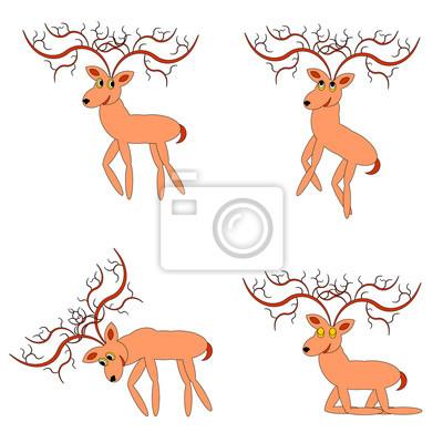 Lustige Hirsche auf weißem Hintergrund