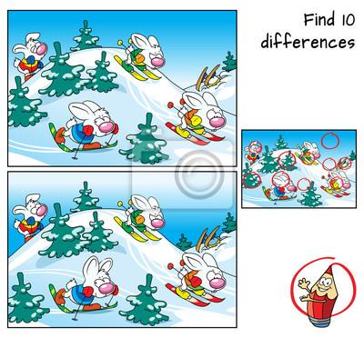 Lustige Kaninchen Die Ski Fahren Finde 10 Unterschiede Lernspiel