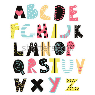 Bild Lustige Kinder Schrift. Nettes Alphabet für Bildung oder Dekor. Vektor Hand gezeichnete Illustration.