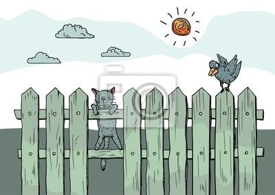 Lustige Neugierige Katze Stehend Auf Zaun Leinwandbilder Bilder