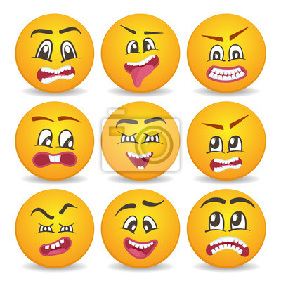 Lustige smileys 29d gesichter isoliert vektor icon-set. comic ...